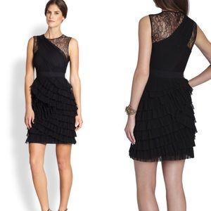 Bcbg maxazria Jaya pleated black lace yoke dress